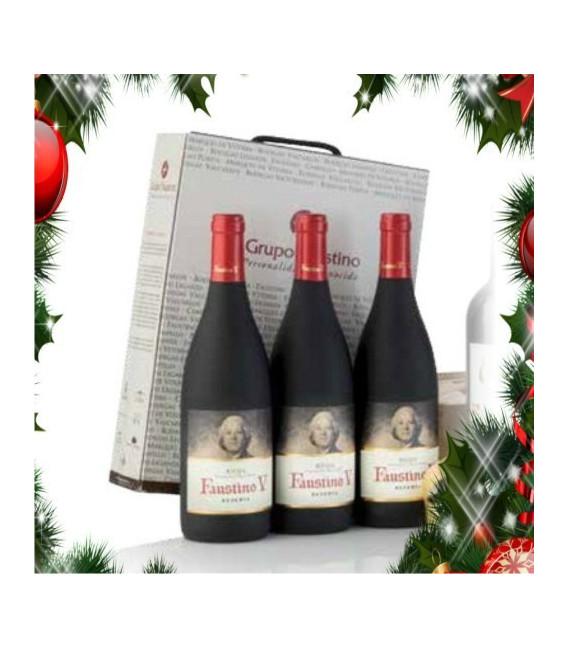 Etui karton mit 3 flaschen rotwein Faustino V Reserva