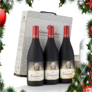 Estuche cartón 3 botellas vino tinto Faustino V Reserva