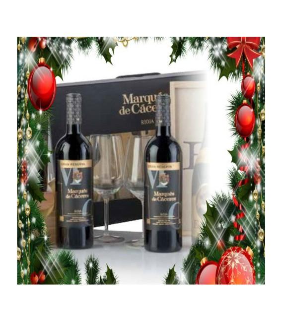 Cas de carton de 2 bouteilles de Marques de Caceres gran reserva