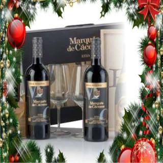 Case cardboard 2 bottles Marques de Caceres gran reserva