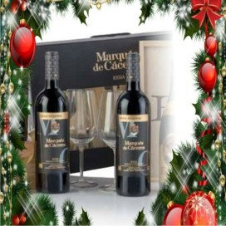 Estuche cartón 2 botellas Marqués de Cáceres gran reserva