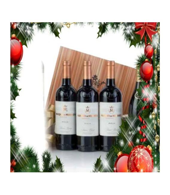 Cas en bois de 3 bouteilles de vin rouge de Marques de Murrieta Reserva