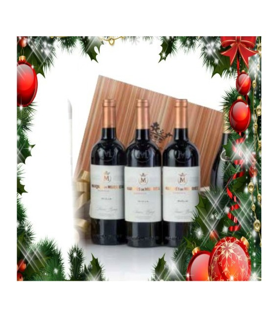 Case wooden 3 bottles red wine Marques de Murrieta Reserva