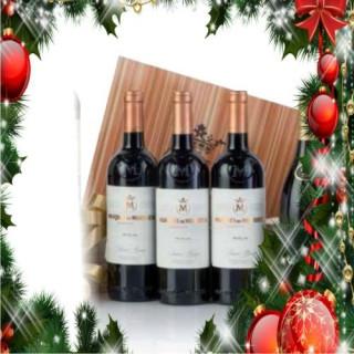 Estuche madera 3 botellas vino tinto Marqués de Murrieta Reserva