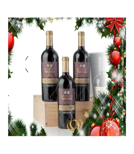 Case wooden 3 bottles of red wine Muriel Gran Reserva