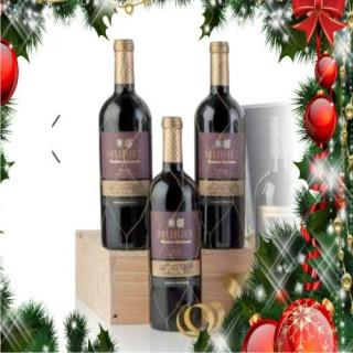 Cas en bois de 3 bouteilles de vin rouge Muriel Gran Reserva