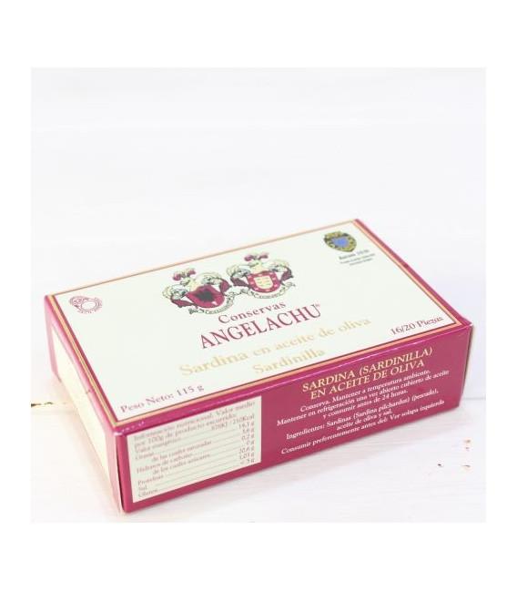 Les ménés dans l'Huile d'Olive 115 grammes de 16/20 pièces. Angelachu