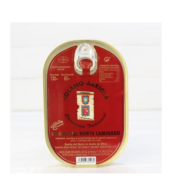 Bonito Laminado en Aceite de Oliva 140 grs. Solano Arriola