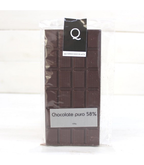 Tableta de Chocolate Artesanal puro al 58%, 120 grs