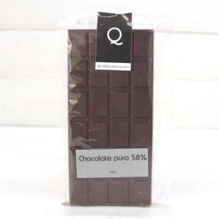 Tablette de Artisanale de Chocolat pur à 58%, 120 grammes