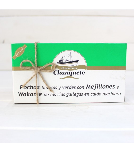Fagioli con le Cozze e Wakame in brodo marinaio