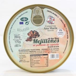 Mejillones al pimiento de espelette, 260 grs. Ana Maria