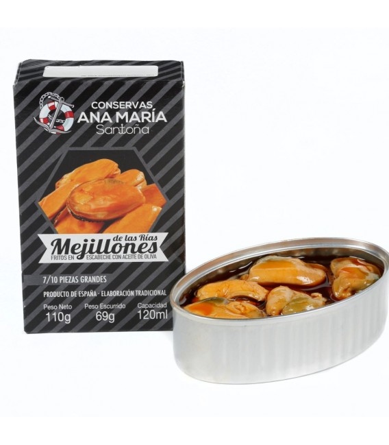Mussels Fried in Pickled 7/10 pieces 115 grams Ana Maria
