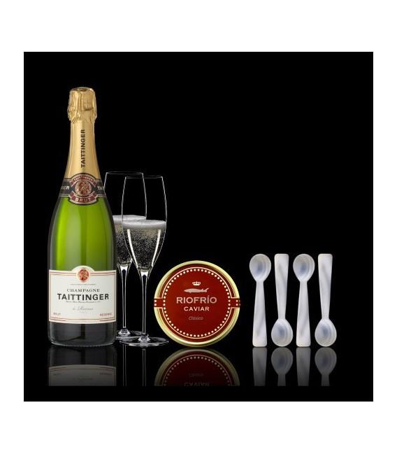Estuche Caviar T. Clasico 200grs+ Champagne + 4 Cucharillas