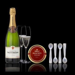 Etui Kaviar Traditionellen und Klassischen 200grs, Champagne und 4 Teelöffel