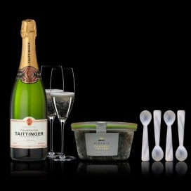 Case Caviar Green 120grs, Champagne and 4 Teaspoons
