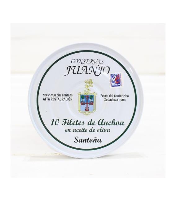Anchoas del Cantábrico, elaboración tradicional, 10 filetes, tamaño de la anchoa grande, en aceite de oliva.