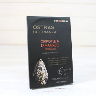 Ostras de crianza con chipotle y tamarindo mexicano 11-14 piezas.