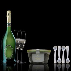 Case Caviar Green 120grs, Cava and 4 Teaspoons