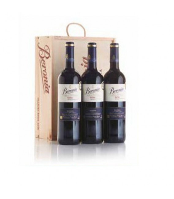 Estuche madera 3 botellas vino tinto Beronia Reserva