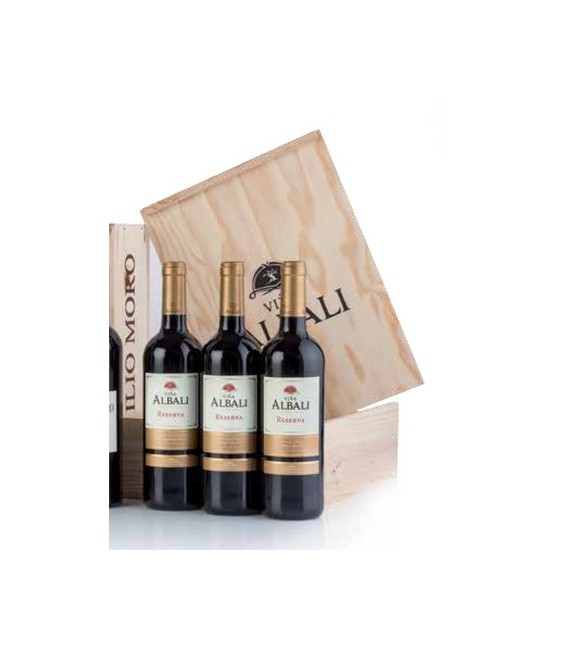 Estuche madera 3 botellas vino tinto Viña Albali Reserva