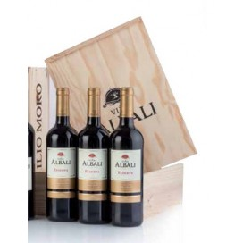 Case wooden 3 bottles red wine Viña Albali Reserva