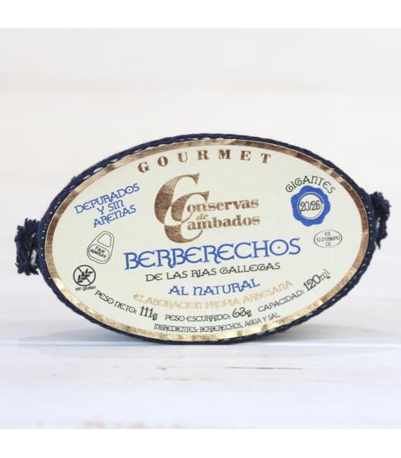 Berberechos de Galicia al Natural ,30/40 Piezas 120 grs.