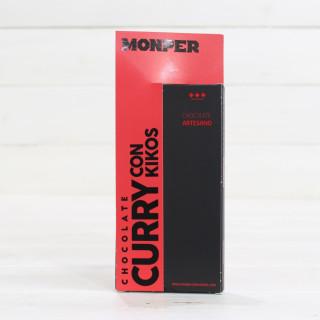 Tablette de Artisanale de Chocolat au Curry avec des Kikos 85 grs
