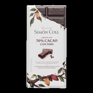 Tableta Chocolate Artesanal 70% Cacao con Nibs, 85 gr