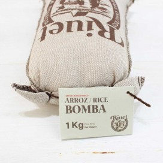 Arroz Bomba con D.O.P. Saco de tela 1 kg