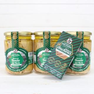 Anchoas 50grs gratis con Pack de 3 bonito del norte en Aceite de Oliva 425 grs. Conservas Ana Maria