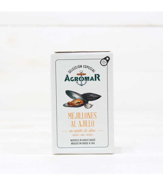 Mejillones al Ajillo en Aceite de Oliva, 114 grs