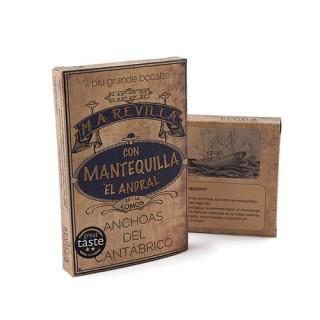 Anchoas de Santoña con Mantequilla Ecologíca Alta Restauración 12-14 filetes grs, M.A.RevillaCatálogo Productos