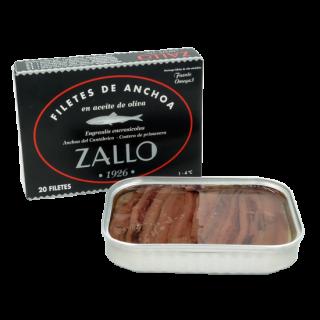 Acciughe del cantabrico in Olio di Oliva selezione premium di 20/22 filetti,85 g di Zallo