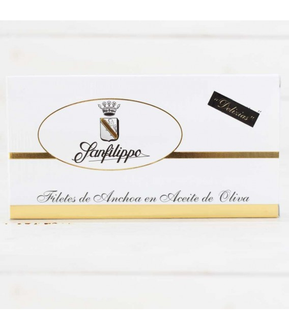 "D2-Anchoas Sanfilippo, en aceite ""Delizias"" Piccola reducida, 48 filetes"