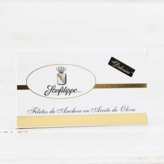 "D5-Anchoas Sanfilippo, en aceite ""Delizias"" mini, 16 filetes"