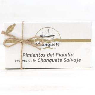 Paprika von der Piquillo-Füllungen von Chanquete wild in einer Soße von der Carabinero