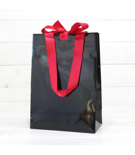 Bolsa Regalo Gourmet Negra con lazo nº8