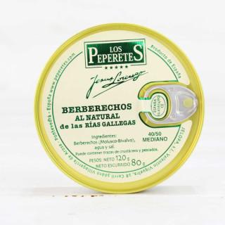 Berberechos al Natural de las Rías Gallegas 40/50 piezas, 120 grs