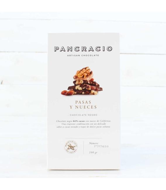 Tableta de Chocolate Negro con Pasas y Nueces, 100grs