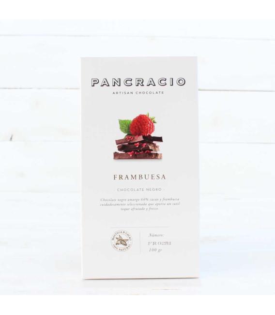 Tableta de Chocolate Negro con Frambuesa, 100 grs
