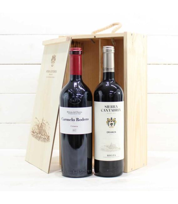 Estuche de Madera 2 Botellas de Vino nº1
