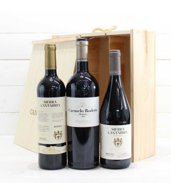 Estuche de Madera 3 Botellas de Vino nº6