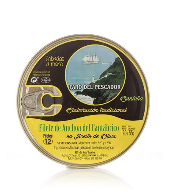 Anchoas de Santoña en Aceite de Oliva 12/14 Filetes Grandes. El Faro del Pescador