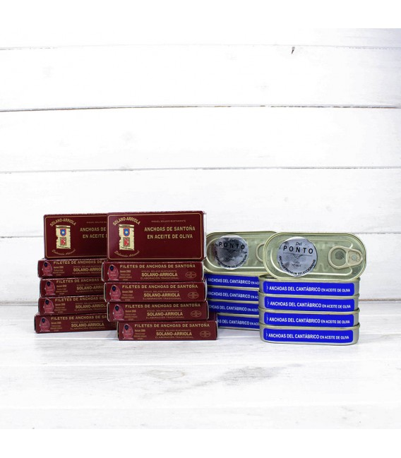 Pack Promoción 10 Octavillos de Anchoas Solano Arriola y 10 Anchoas Del Ponto Numeradas