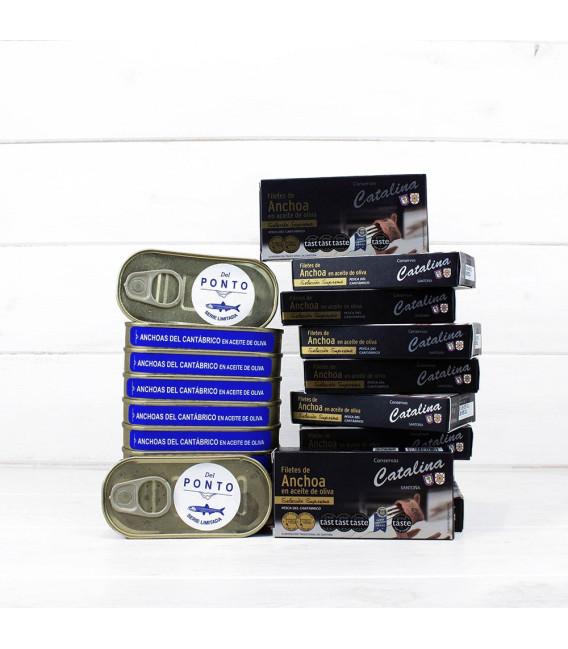 Pack Especial 10 Octavillos Anchoas Catalina y 10 Anchoas Del Ponto
