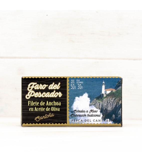 Anchoas de Santoña en Aceite de Oliva 50 grs. El Faro del Pescador