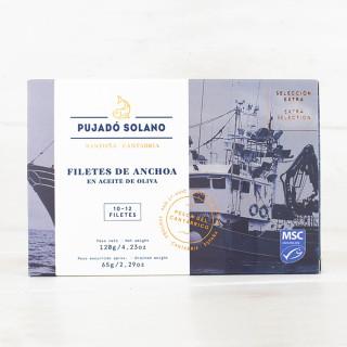 Anchoas del Cantábrico Selección Extra en Aceite de Oliva, 110gr Pujado Solano