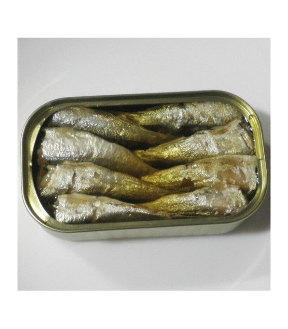 Minnows in Olive Oil 115 grams 16/20 pieces. Angelachu